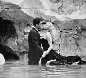 The Trevi Fountain scene in Fellini's La Dolce Vita, 1960.