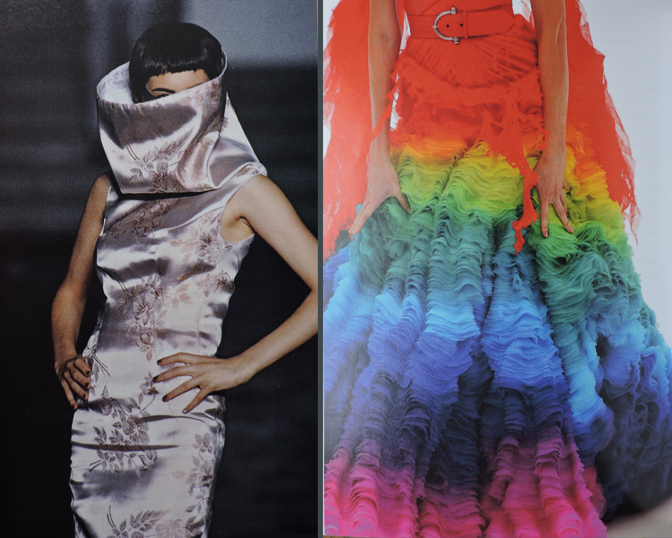 "Collar and color. On the left: funnel necked dress, ""Bellmer la Poupée,"" SS 1997. On the right: detail, silk chiffon rainbow dress, ""Irere,"" SS 2003"