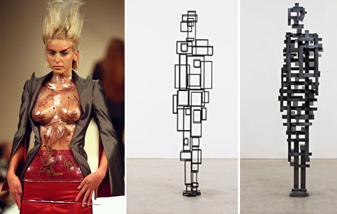 Fashion by Alexander McQueen; sculpture by Antony Gormley