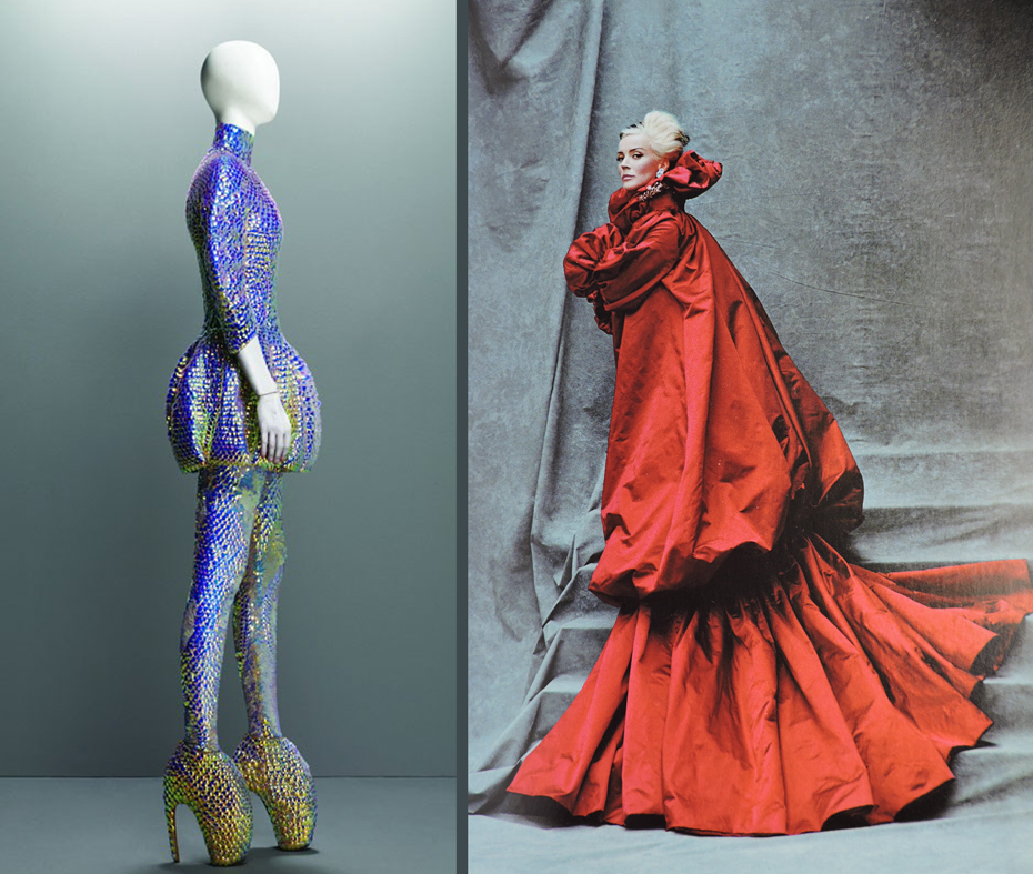 "Jellyfish and fairy-tale. On the left, McQueen's ""jellyfish dress"" from Plato's Atlantis, S/S 2010. On the right, Daphne Guiness wearing a red silk coat pleated at the cuff from :The Girl who Lived in the Tree"" collection, F/ W, 2008-09, photo by Michael Roberts for Vanity Fair."