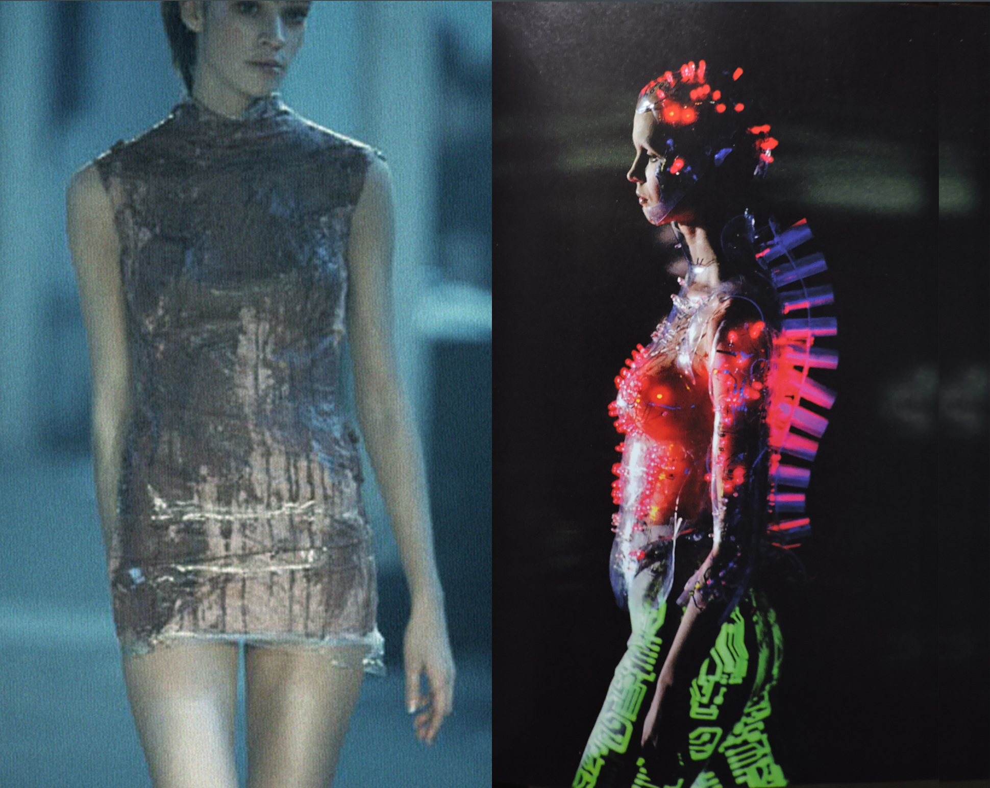 Plastic and LED. On the left, plastic and mud dress from Nihilism show, Spring/ Summer 1994. On the right: LED cyborg look, AW 1999-2000.